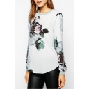 Floral Print Round Neck Long Sleeve Zip Back T-Shirt