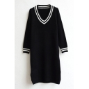 Black V-Neck Long Sleeve Longline Split Side Sweater Dress