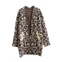 V-Neck Open Front Leopard Pattern Long Sleeve Double Pocket Cardigan