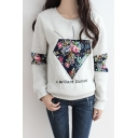 Floral Diamond Applique Round Neck Long Sleeve Sweatshirt