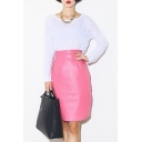 Plain Zip Back PU Wrap Mini Skirt