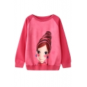 Smile Girl Print Round Neck Long Sleeve Sweatshirt