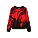 Abstract Ink Print Round Neck Long Sleeve Sweatshirt