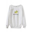 Banana Print Round Neck Long Sleeve Sweatshirt