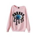 Eye Beaded Embroidery Scoop Neck Long Sleeve Sweatshirt