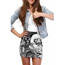 3D Kuso Cartoon Print Elastic Waist Mini Wrap Skirt