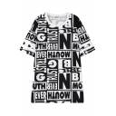 Alphabet Print Crew Neck Short Sleeve Tunic T-Shirt