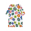 Flowers Print Round Neck Short Sleeve T-Shirt