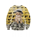 Rich Cat Print Round Neck Long Sleeve Sweatshirt