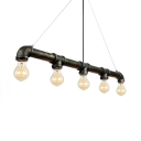 Antique Bronze Five-light Pipe LED Suspension Pendant