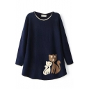 Cute Kitties Jacquard Round Neck Long Sleeve Knit Sweater