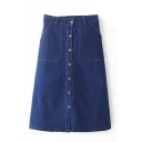 Plain Buttons Double Pocket Midi Denim Skirt