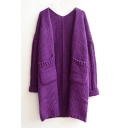 Plain V-Neck Long Sleeve Double Pocket Knit Open Front Cardigan
