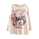 Floral Elephant Print Scoop Neck Long Sleeve Sweater