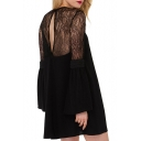 Black Lace Patchwork Long Sleeve Smock Dress
