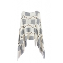 Check Print Round Neck 3/4 Length Sleeve Hollow Tassel Hem Cape