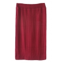 Plain Elastic Waist Knit Midi Tube Skirt