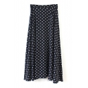 Polka Dot Zip Side Maxi Flared Skirt