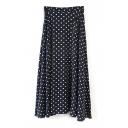 Polka Dot Zip Side Maxi Flared Skirt