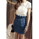 Plain Elastic Ruffled-Waist Denim Mini Wrap Skirt