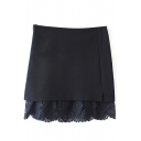 Plain Zip Side Lace Insert Mini Wrap Skirt