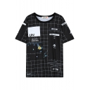 Space Letter Print Round Neck Short Sleeve T-Shirt