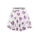 Purple Face Print Elastic Waist Mini Flared Skirt