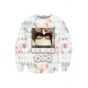 3D Lovely Cat Print Round Neck Long Sleeve Sweatshirt