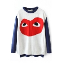 Red Heart Round Neck Long Sleeve Knit Sweater