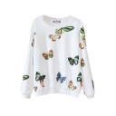 Beautiful Butterfly Print Round Neck Long Sleeve Sweatshirt