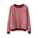 Plaid Batwing Sleeve Round Neck Sweatshirt