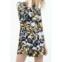 Abstract Floral Print Long Sleeve Smock Dress