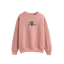 Cactus Embroidery Round Neck Long Sleeve Sweatshirt
