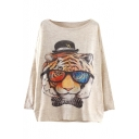 Tiger Head Print Scoop Neck Long Sleeve Sweater