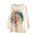 Lion Head Print Long Sleeve Scoop Neck Sweater