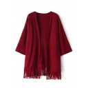 Plain Tassel Hem V-Neck 3/4 Length Sleeve Cardigan