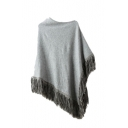 Plain Asymmetrical Hem Tassel Scoop Neck Half Sleeve Cape