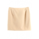 Plain Zip Side Woolen Wrap Mini Skirt