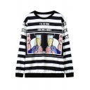Cartoon Print Stripe Round Neck Long Sleeve Sweatshirt