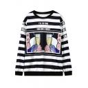 Cartoon Print Stripe Round Neck Long Sleeve Sweatshirt