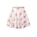 Pink Fingernails Print Elastic Waist Mini Flared Skirt