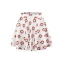 Girls Print Elastic Waist Mini Flared Skirt