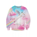 Flying Cat Print Round Neck Long Sleeve Sweatshirt