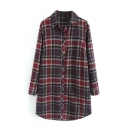 Classic Plaid Lapel Long Sleeve Single-Breasted Tunic Shirt