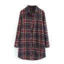 Classic Plaid Lapel Long Sleeve Single-Breasted Tunic Shirt