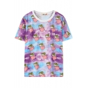 Cartoon Ice-Cream Print Round Neck Short Sleeve T-Shirt
