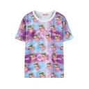 Cartoon Ice-Cream Print Round Neck Short Sleeve T-Shirt