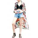 Beautiful Flower Print 3/4 Length Sleeve Open Front Tunic Kimono