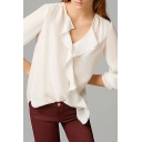 White V-Neck Ruffle Hem Long Sleeve Shirt