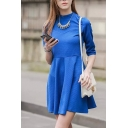 Plain High Neck Zip Back 3/4 Length Sleeve Fit and Flare Dress